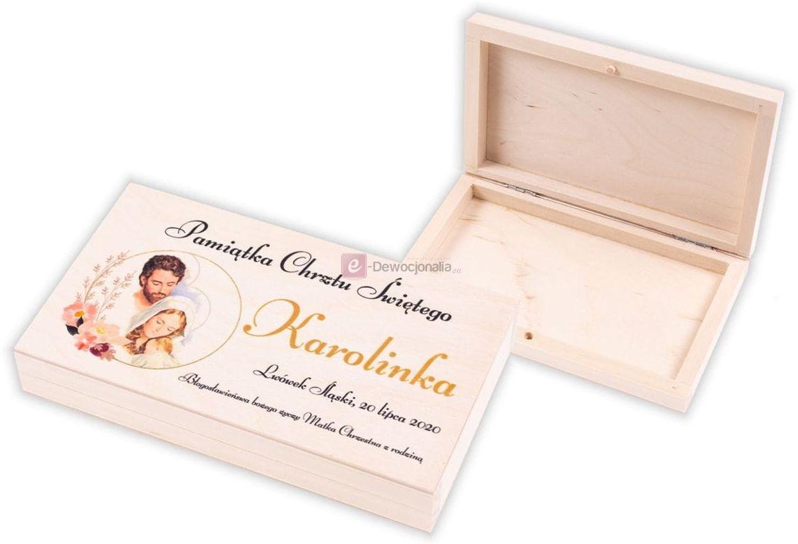 Pudełeczko drewniane EKO  z nadrukiem UV - Pamiątka Chrztu Świętego