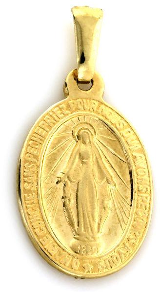 Złoty medalik 333 Szkaplerz dwustronny z Niepokalaną