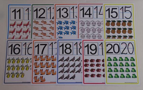 Cyfry 11-20 karty edukacyjne z kierunkiem pisania