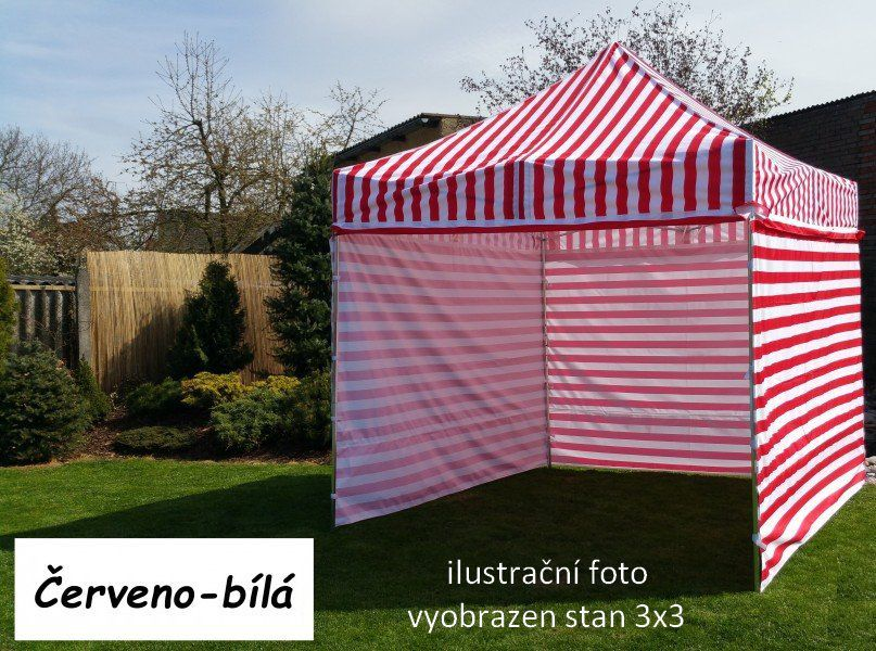 Namiot ogrodowy PROFI STEEL 3 x 4,5 - czerwono -biały