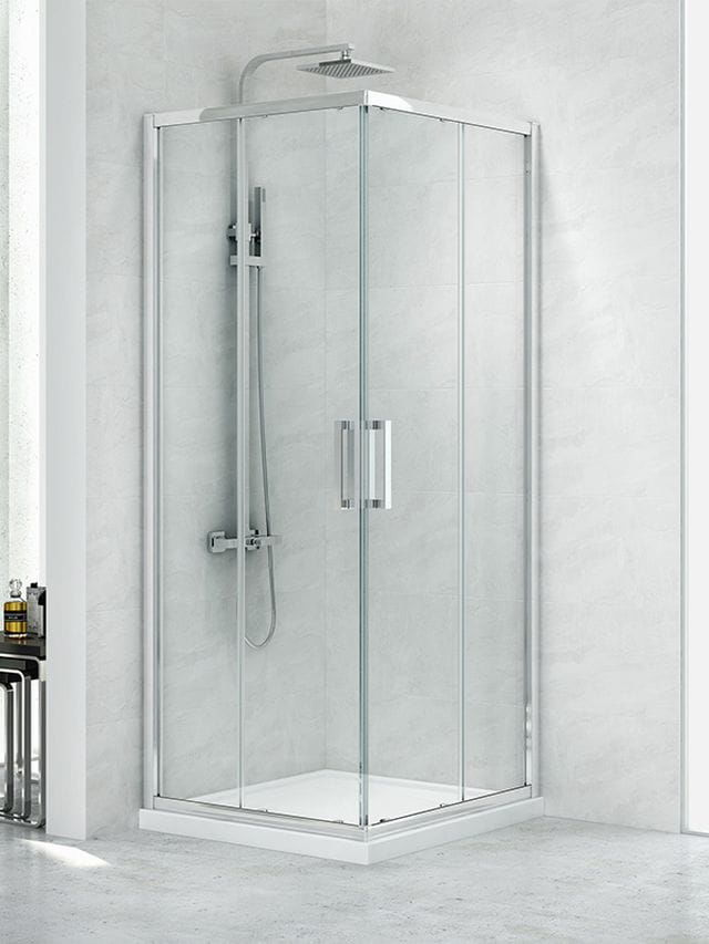 Kabina prysznicowa prostokątna New Trendy Gold NEW PRAKTIC 80x100, wys. 195 cm, szkło czyste 6 mm, K-0491