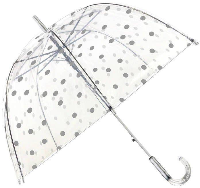 Smati - długi parasol - srebrne grochy - przeźroczysty