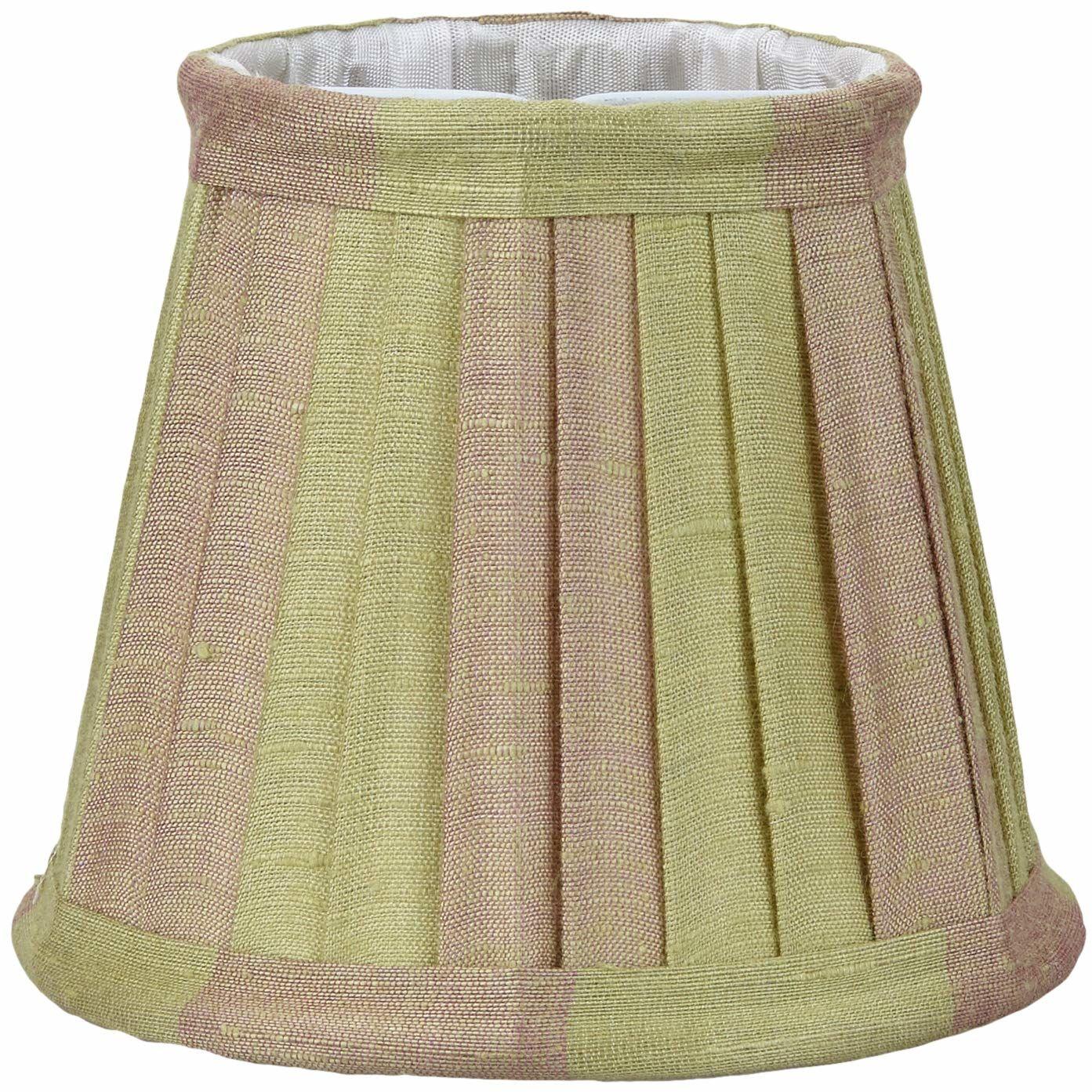 Better & Best 0213128  klosz lampy z jedwabiu, z klipsem do świec, wąska tabela, 12 cm, dwukolorowy taupe i zielony