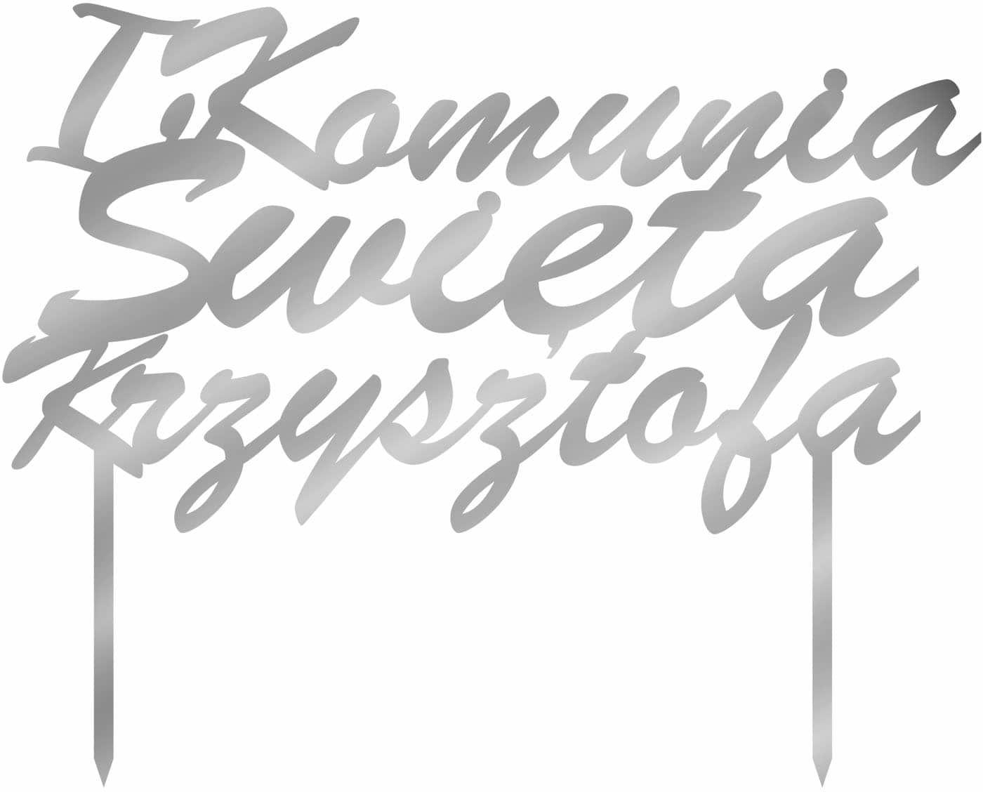Topper z lustrzanej pleksi srebrny personalizowany na tort I Komunia Święta