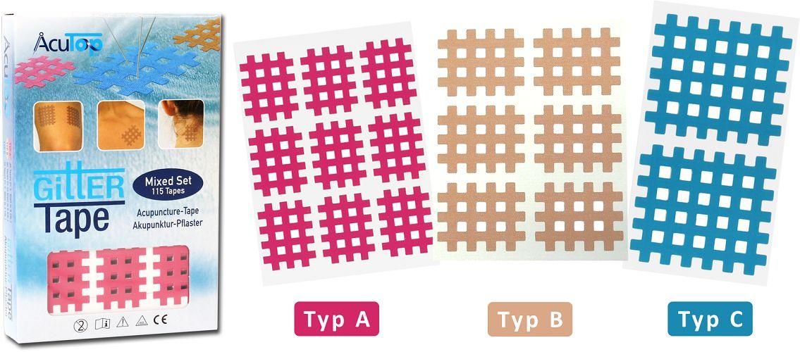 PrzeciwBÓLOWE plastry krzyżykowe na punkty spustowe - MIX - 115 tapes (Cross MIX ACT)