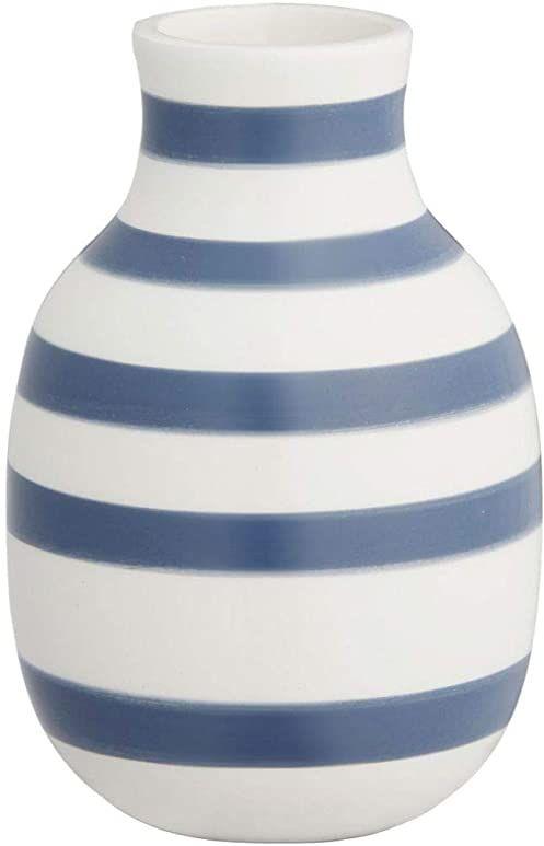 Hak Kähler Omaggio wazon porcelanowy z paskami, nowoczesny wazon okrągły, pękaty, skandynawski design wazon na kwiaty, niebieski, 12,5 cm