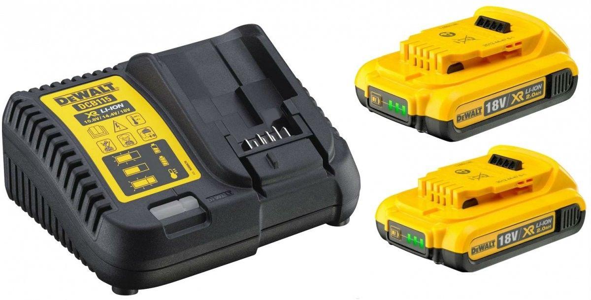 zestaw 2 akumulatorów 18V, 2,0Ah + ładowarka DeWalt [DCB115D2]