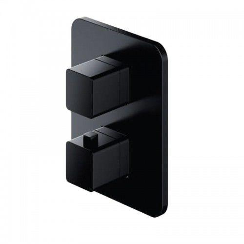 Bateria wannowa podtynkowa 15x19cm termostatyczna czarny mat, PARMA