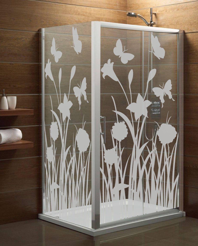 Naklejka mrożone szkło: Kwiaty i Motyle