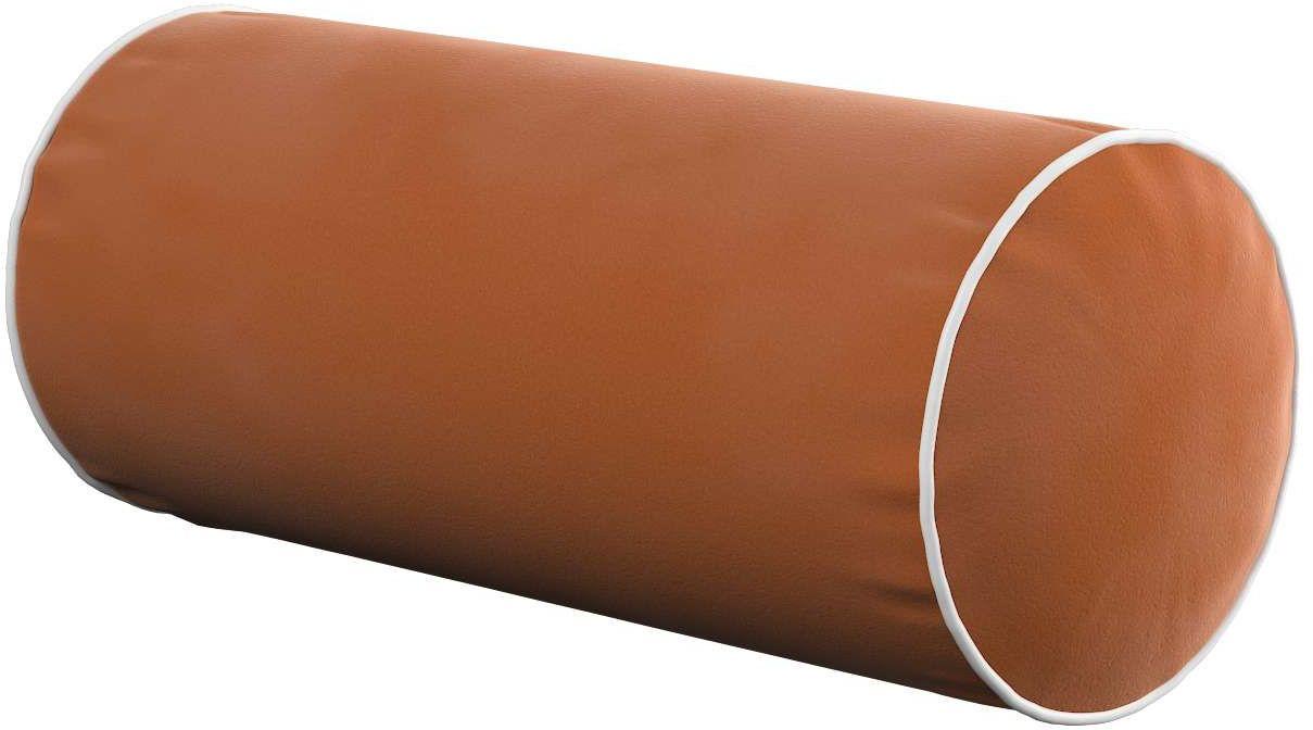 Poduszka wałek prosty z lamówką, karmelowy, Ø16  40 cm, Velvet