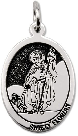 Medalik srebrny z wizerunkiem św. Floriana MED-FLORIAN-02