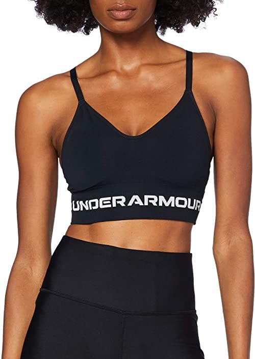 Under Armour Damski biustonosz sportowy bezszwowy, niski, długi, sportowy biustonosz, Black / / Halo Gray (001), XS