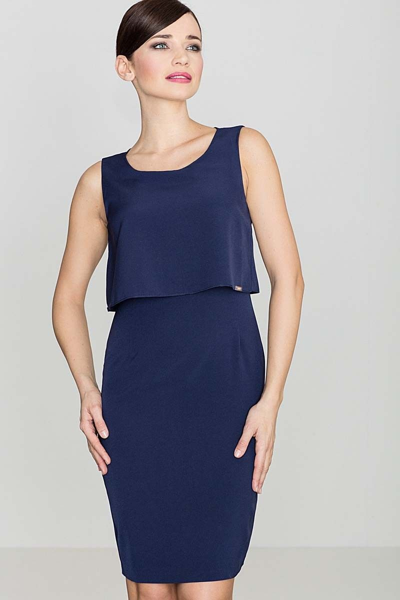 Elegancka granatowa sukienka na szerokich ramiączkach