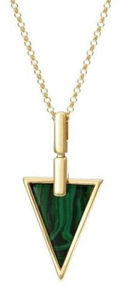 Srebrny naszyjnik 925 trójkącik z malachitem