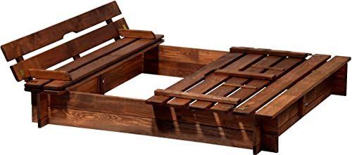 dobar 94360FSC piaskownica drewniana z pokrywą z ławką do siedzenia, piaskownica duża, XL, kwadratowa, z pokrywą