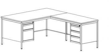 Metalowe biurko lekarskie, kątowe BIM 073 z dwoma kontenerkami