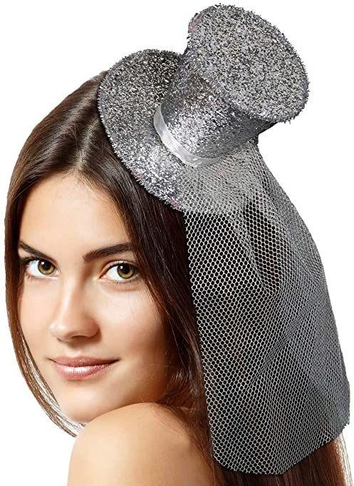 Tiara opaska na głowę z górną czapką brokatowy srebrny, mała górna czapka na plastikowej opasce na głowę jeden rozmiar