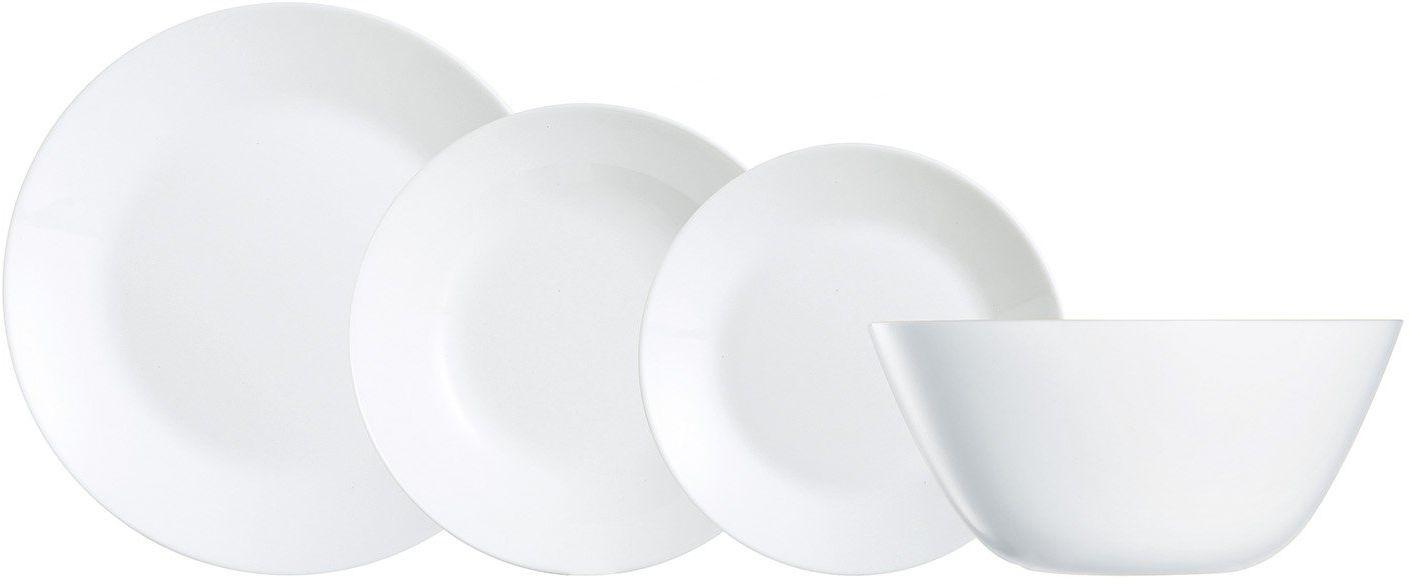 Dajar serwis stołowy Zelie 19-częściowy LUMINARC, szkło, biały, 28 x 22 x 26,3 cm, elementy