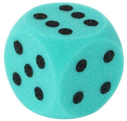 Duża kostka do gry z materiału piankowego 7 cm zielona