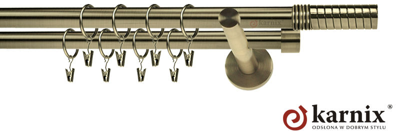 Karnisze nowoczesne NEO podwójny 19/19mm Optima antyk mosiądz