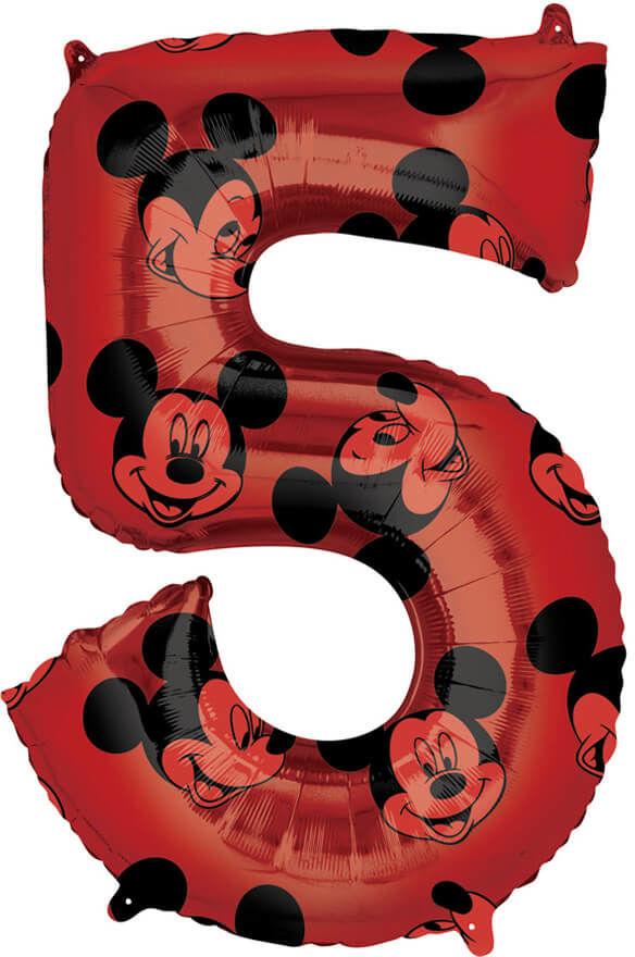 Balon foliowy cyfra 5 Myszka Mickey - 45 cm x 66 cm - 1 szt.