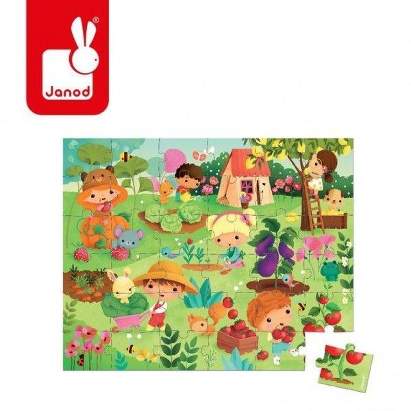 Janod - Puzzle w Walizce Ogród 36 Elementów 4 Lata +