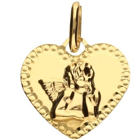 Złoty medalik 585 serduszko z aniołkiem 0,74 g