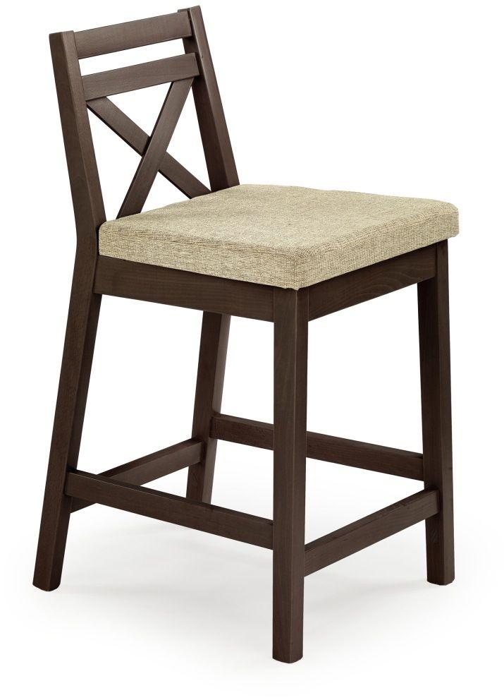 BORYS LOW krzesło barowe niskie ciemny orzech / tap. Vila 2 Halmar