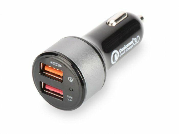 EDNET Ładowarka samochodowa Qualcomm Quick Charge 3.0, 2xUSB (3A/2.4A), czarno-srebrna