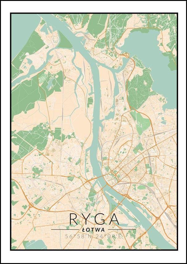 Ryga mapa kolorowa - plakat wymiar do wyboru: 40x50 cm