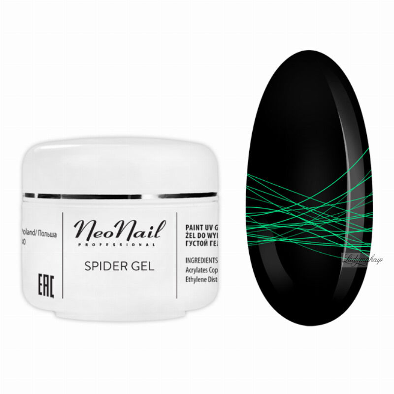 NeoNail - SPIDER GEL - Żel do do wykonywania trwałych zdobień na paznokciach - 6994 NEON GREEN