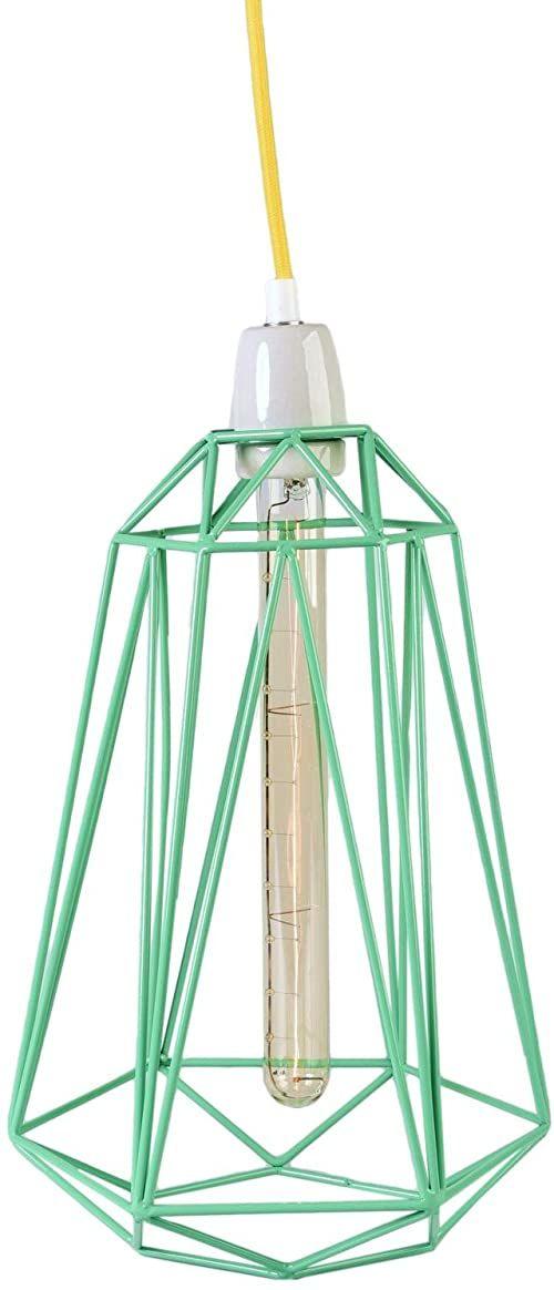 Filament Style Filament 018P francuska lampa retro Loft Diamond #5 z kablem tekstylnym w kolorze żółtym metal E27, 39 x 21 cm, miętowa