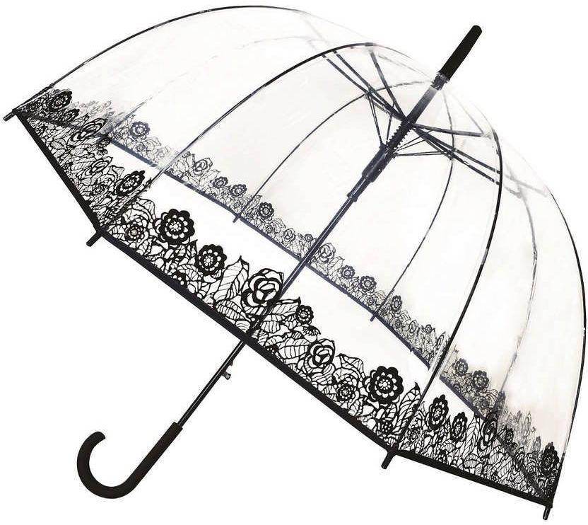 Smati - długi parasol - dentelle - przeźroczysty z kwiatowym wzorem
