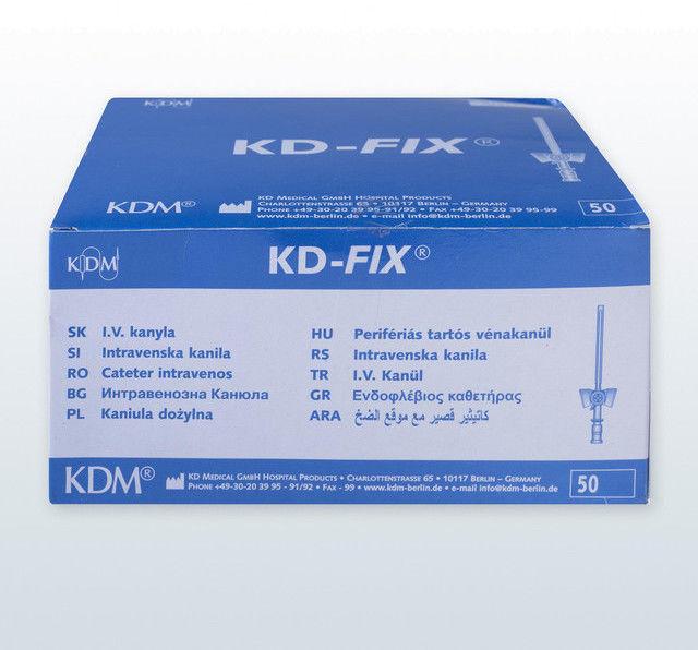 Kaniula dożylna (wenflon) KD-Fix (50 szt) 0.7x19mm 24G żółty