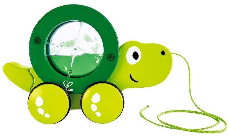 Zielony żółwik z ruchomą skorupą, E0354-Hape, zabawki na sznurku dla dzieci