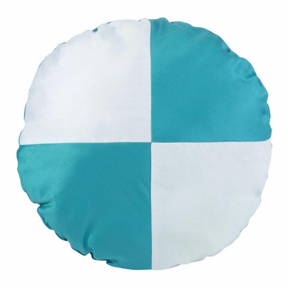 Poduszka dekoracyjna śr.40cm. Nova biała turkusowa Eurofirany