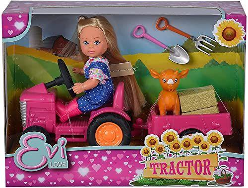 Evi Love Tractor / lalka na traktorze z przyczepą / zwierzę / piłę siana / szufla i widelec z jemigłem / 12 cm / nadaje się dla dzieci w wieku od 3 lat