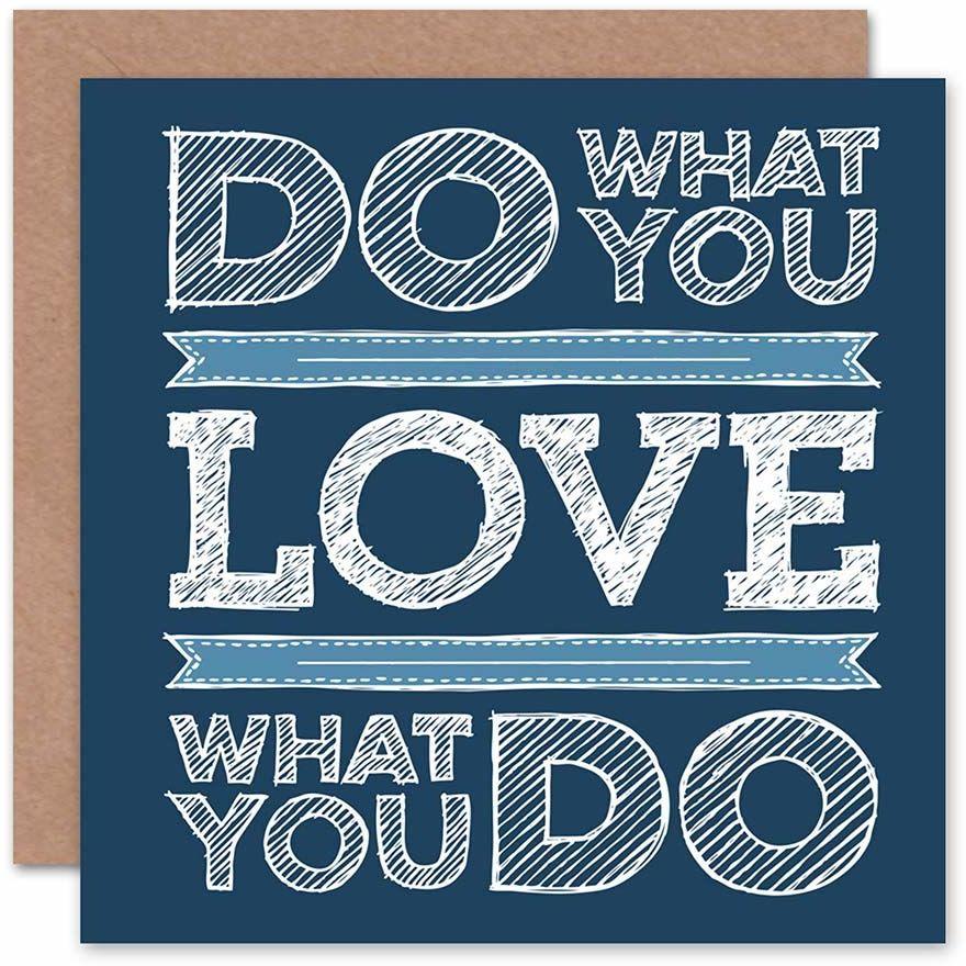 ''DO What you love blue ilusTRATION typografia cytat koc kartka urodzinowa