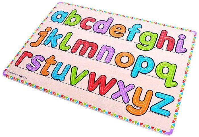 Kolorowy alfabet do nauki pisania, BJ508-Bigjigs Toys, zabawki edukacyjne