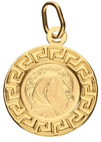 Złoty medalik 585 grecki wzór Matka Boska 0,67 g