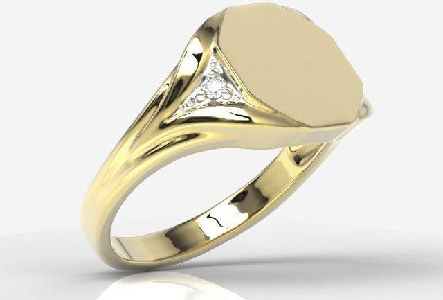 Sygnet wykonany z żółtego złota z diamentami sj-18z-r
