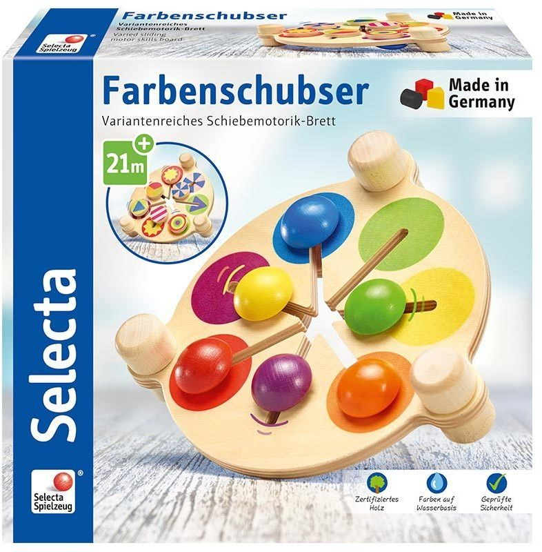 Selecta 62013 Farbenschubser, drewniana zabawka motoryczna, 19 cm