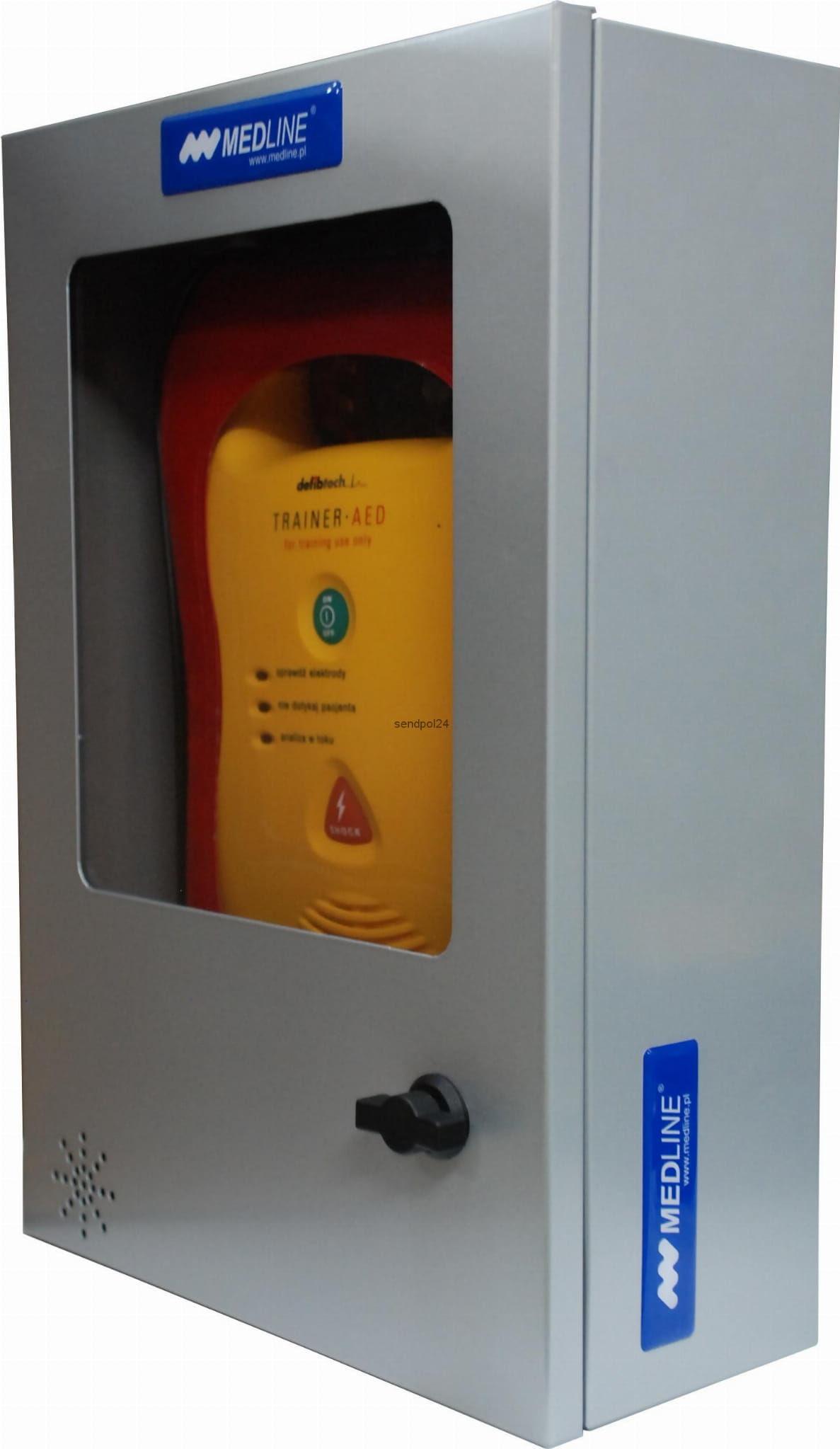 Szafka metalowa na defibrylator prostokątna bez alarmu