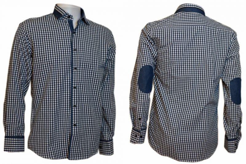 Koszula męska regular granatowa w kratkę z jeansowymi wykończeniami