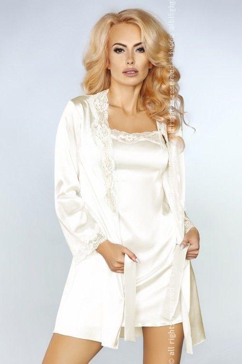Jacqueline Ecru LC 90249 koszulka szlafrok i majtki