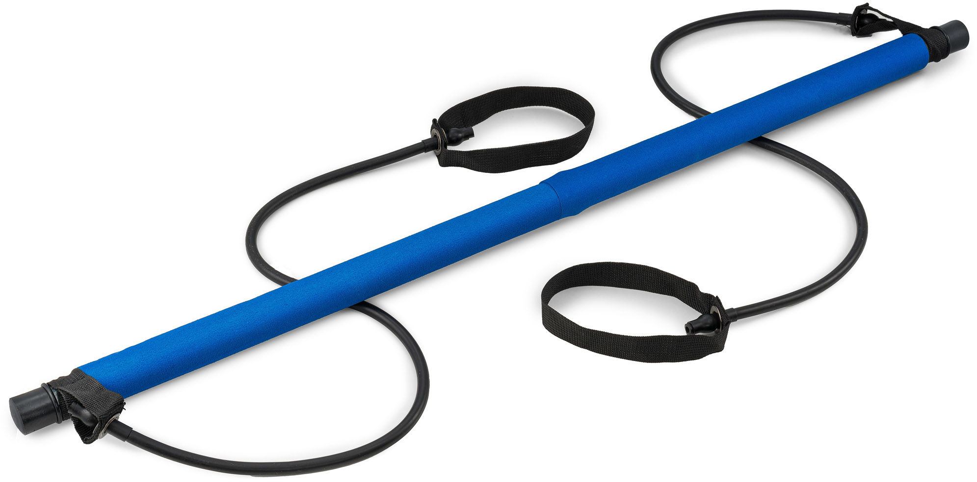 Kij treningowy składany z ekspanderami niebieski