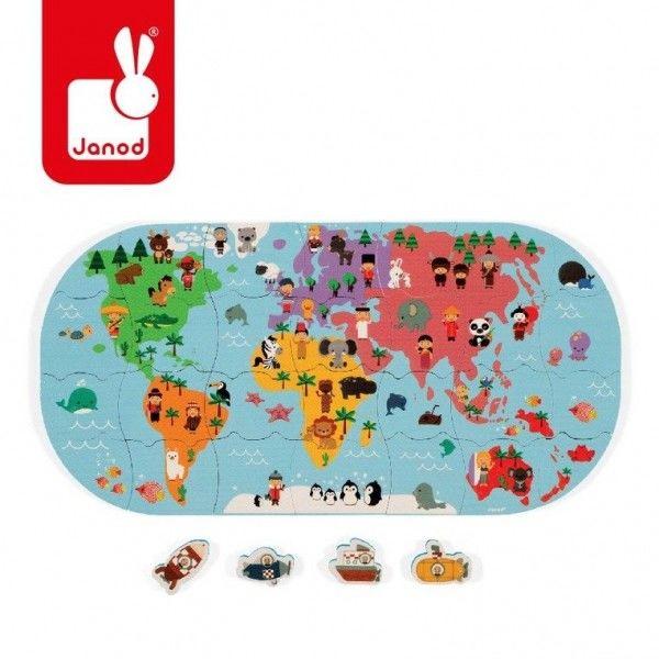 Puzzle do Kąpieli Mapa Świata 28 Elementów 3 Lata +, Janod