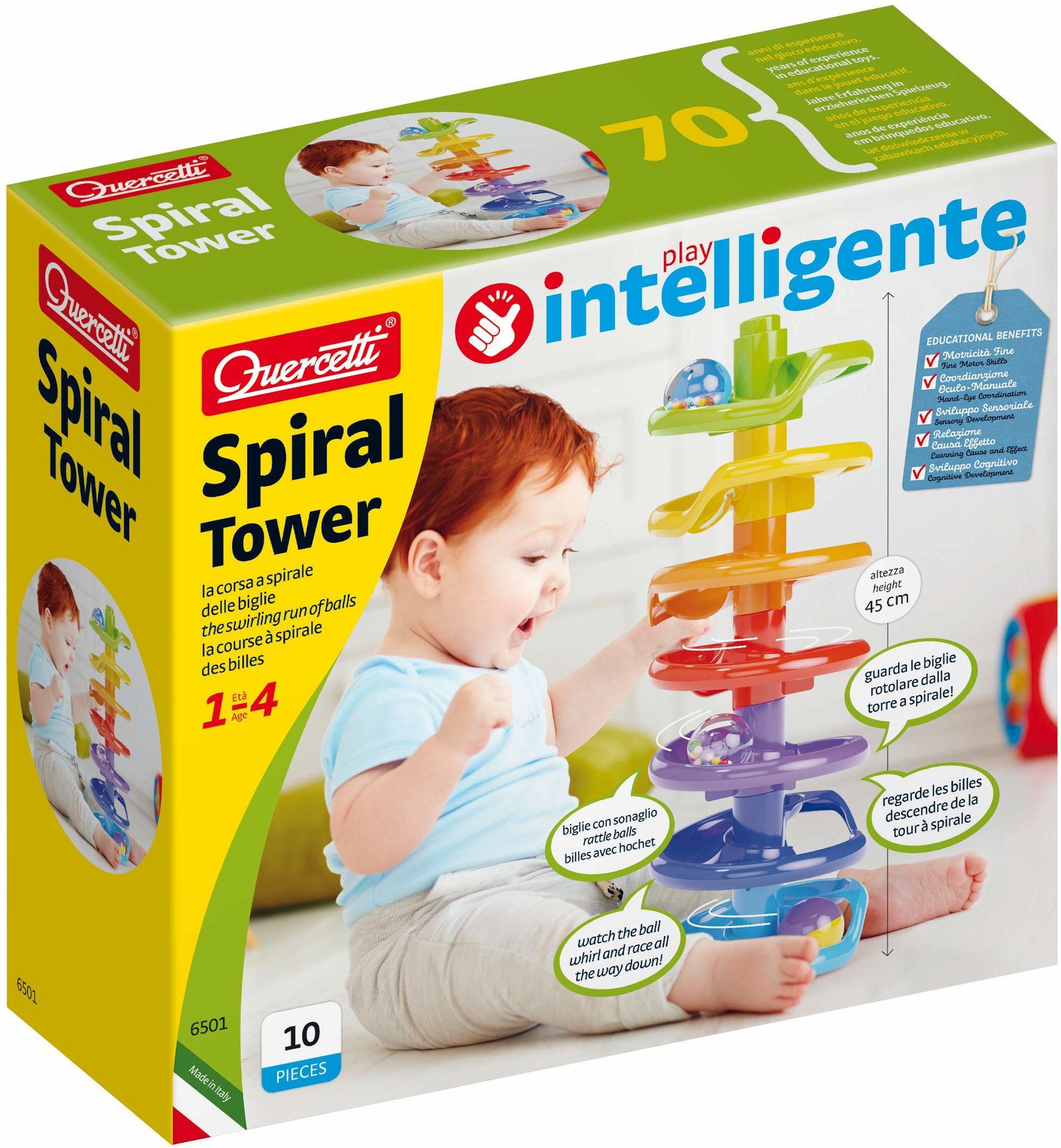 Quercetti 6501 Quercetti-6501 spiralna wieża marmurowe biegi dla niemowląt i małych dzieci - STEM edukacyjna zabawka edukacyjna