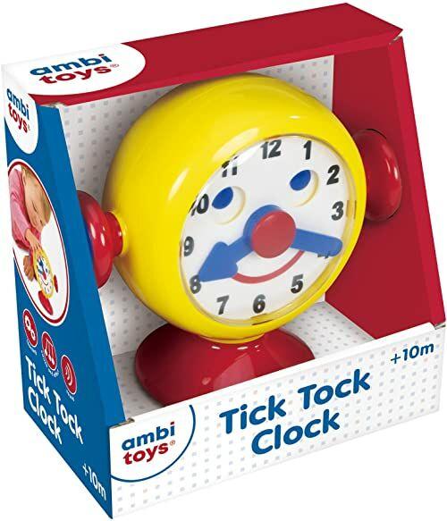 Ambi Toys, Zegar z kleszczą tock, zabawkowy zegar do nauki czasu, wiek 10 miesięcy plus