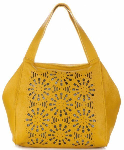 Ażurowe Torebki Skórzane ShopperBag firmy GENUINE LEATHER Żółte